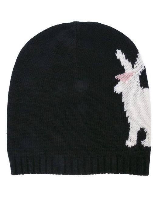 Prada - Black Rabbit Intarsia Beanie for Men - Lyst