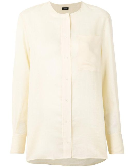 Joseph - White Long Sleeved Concealed Blouse - Lyst