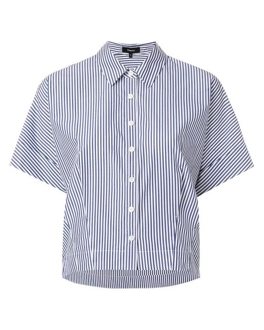 Theory - Blue Striped Short Sleeve Shirt - Lyst