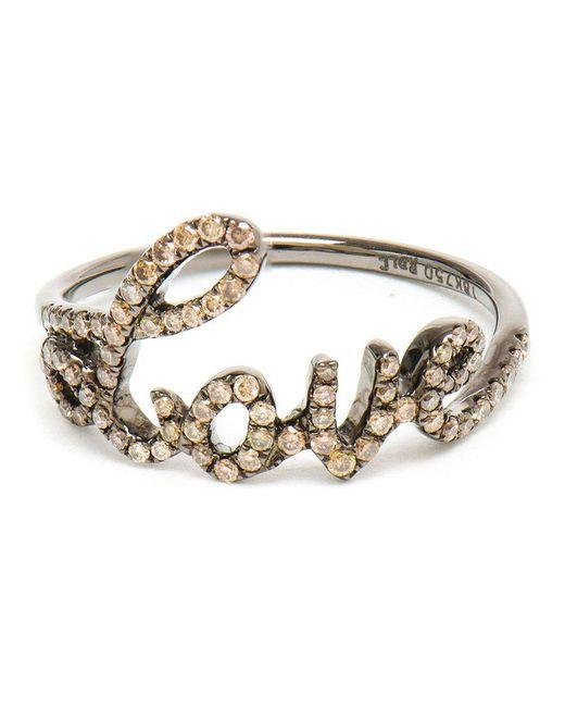 Rosa De La Cruz | Brown Love 18k Oxidised Gold And Diamond Ring | Lyst