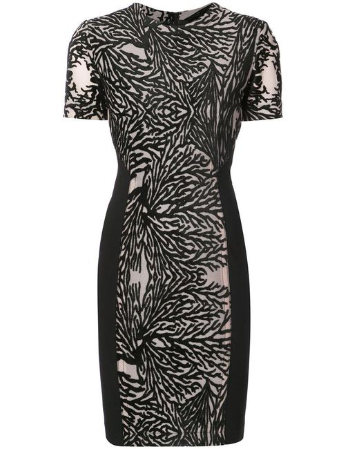 Yigal Azrouël - Black Coral Reef Burnout Sheath Dress - Lyst
