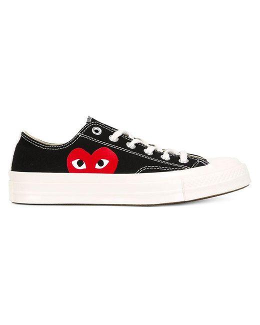 Play Comme des Garçons | Black Large Emblem Low Top Canvas Sneakers | Lyst