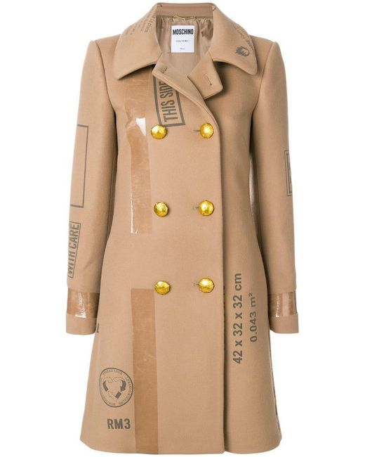Moschino - Natural Patch Print Double Breasted Coat - Lyst