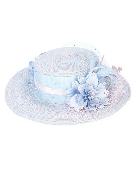 Gigi Burris Millinery Blue Floral Embellished Hat