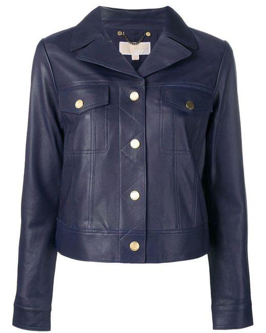 MICHAEL Michael Kors - Blue Short Leather Jacket - Lyst