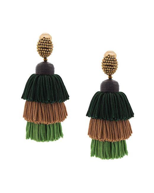 Oscar de la Renta - Green Tiered Tassel Earrings - Lyst