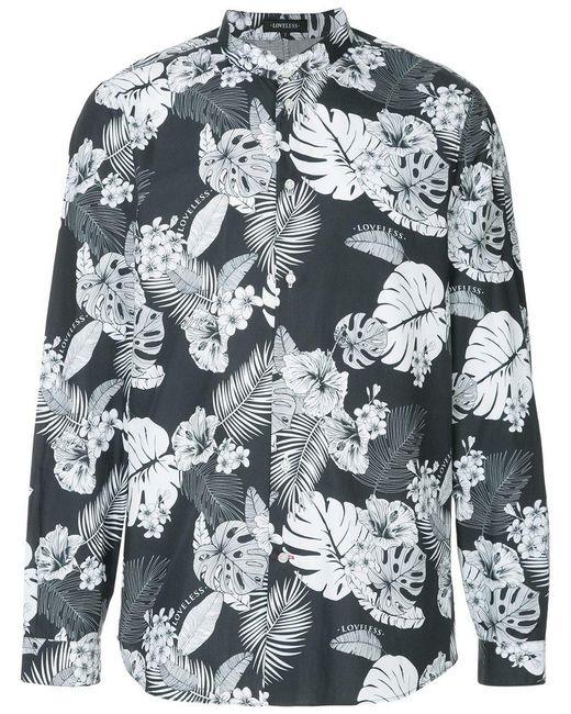 Loveless - Blue Palm Leaf Print Shirt for Men - Lyst