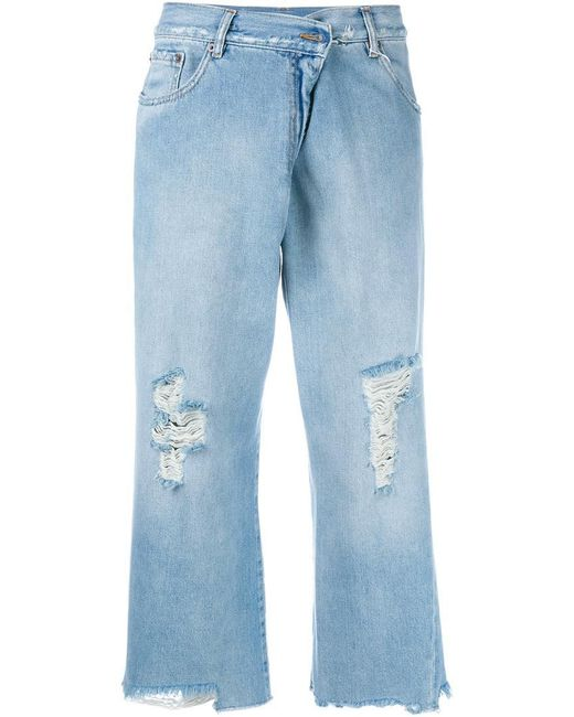 MM6 by Maison Martin Margiela | Blue Distressed Cropped Jeans | Lyst