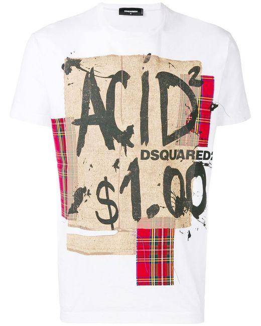 DSquared² - White T-Shirt mit grafischem Print for Men - Lyst