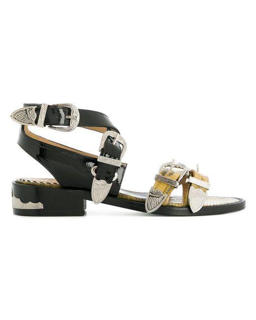 Toga Pulla - Black Buckled Contrast Strap Sandals - Lyst