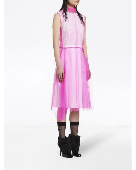 843786c7e9 Lyst - Prada Sleeveless Tulle Dress in Pink - Save 50%
