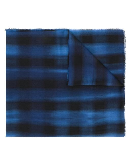 Lanvin - Blue Checkered Scarf for Men - Lyst
