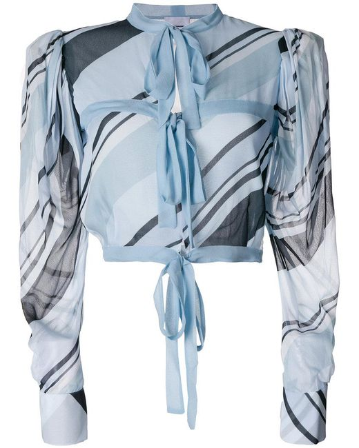 BROGNANO | Blue Printed Tied Cropped Blouse | Lyst