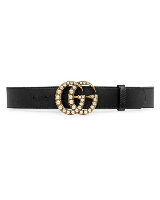 Gucci | Black Leather Belt With Pearl Double G | Lyst