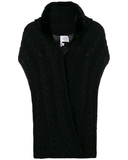 Max Mara - Black Knitted Fur Gilet - Lyst