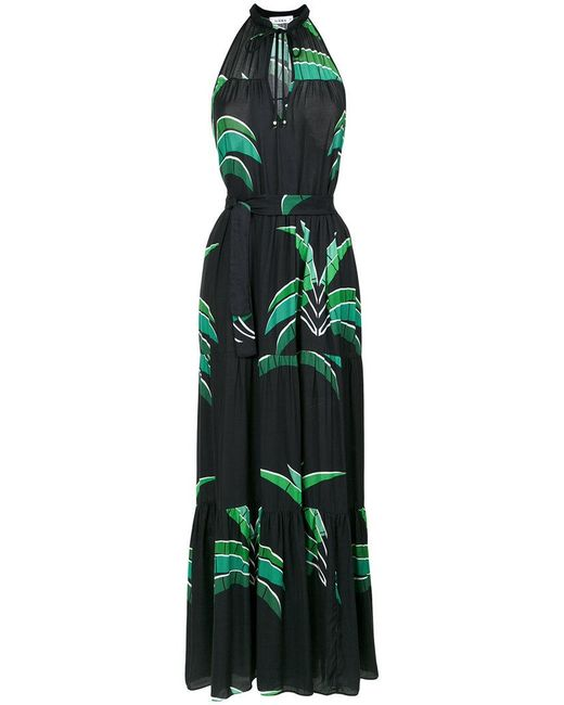 Amir Slama - Black Foliage Print Long Dress - Lyst
