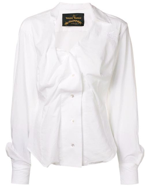 Vivienne Westwood Anglomania - White Deconstructed Shirt Blouse - Lyst