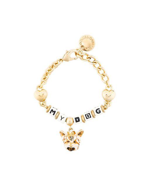 Dolce & Gabbana - Metallic Dog Charm Bracelet - Lyst