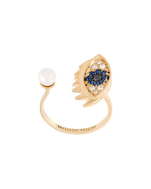 Delfina Delettrez - Metallic 'eyes On Me Piercing' Diamond And Sapphire Ring - Lyst