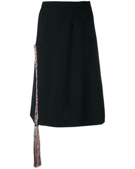 Marco De Vincenzo - Black Tassel Tie Straight Skirt - Lyst