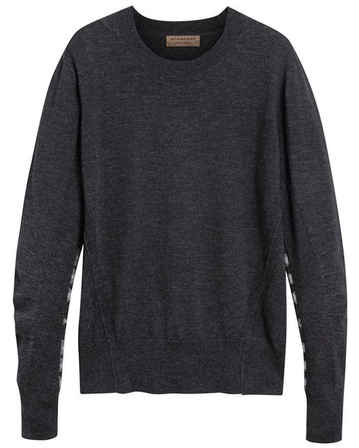 Burberry - Gray Check Detail Jumper for Men - Lyst