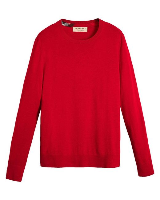 Burberry - Red Check Jacquard Detail Cashmere Sweater for Men - Lyst