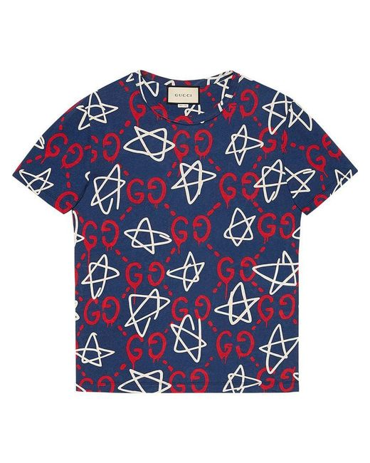Gucci - Blue Ghost-print Crew-neck T-shirt for Men - Lyst