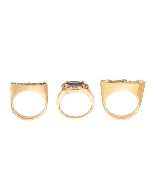 Camila Klein - Metallic Gold Plated Three Rings Set - Lyst
