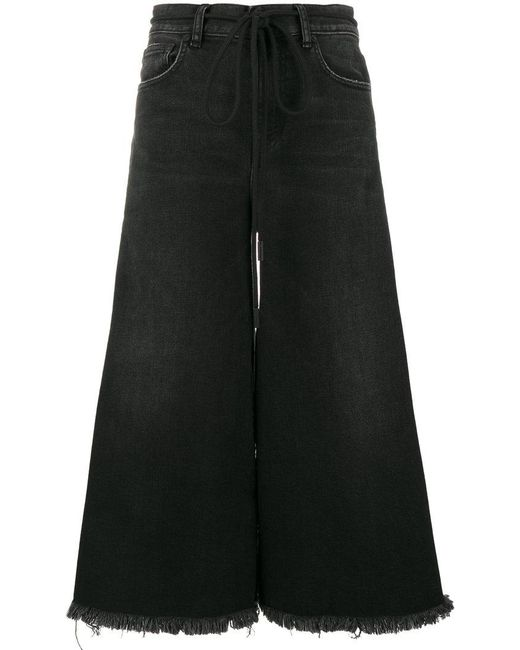 Off-White c/o Virgil Abloh | Black Lily Denim Culottes With Frayed Trims And Embroidery | Lyst