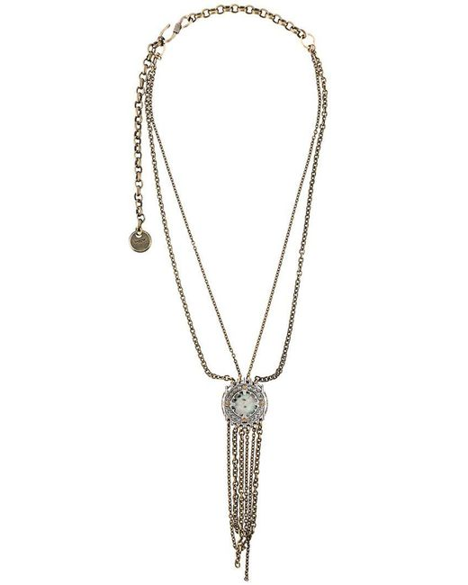 Lanvin - Metallic Hanging Stone Detail Necklace - Lyst