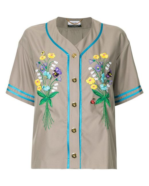 MUVEIL - Brown Embroidered Button Shirt - Lyst