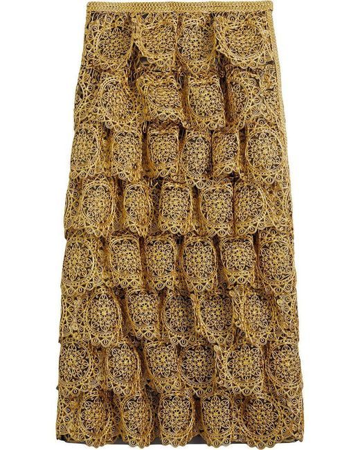 Burberry - Yellow Tiered Silicone Lace Skirt - Lyst