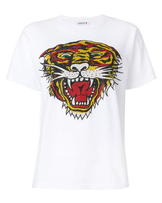 P.A.R.O.S.H. - White Perforated Tiger T-shirt - Lyst