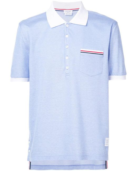 Thom browne striped trim polo shirt in blue for men lyst for Thom browne shirt sale