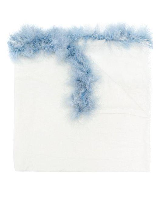 Cutuli Cult White Feather Trim Scarf Lyst