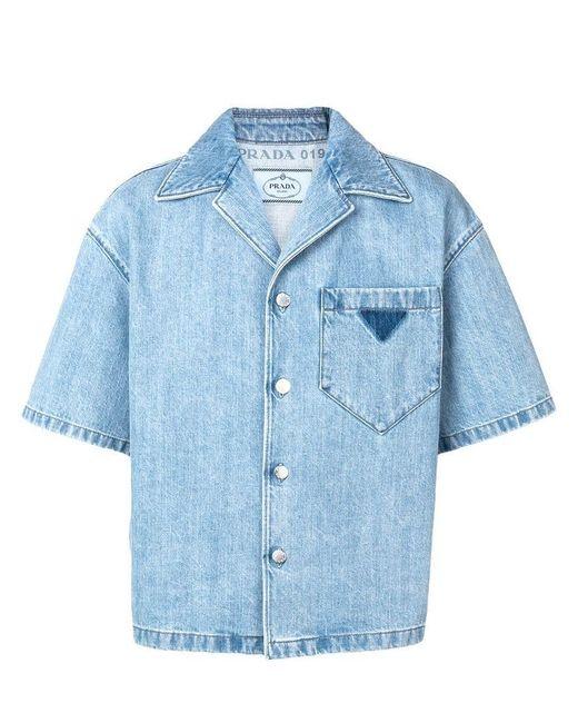 95cd7a0c10d Prada - Blue Джинсовая Рубашка С Короткими Рукавами for Men - Lyst ...