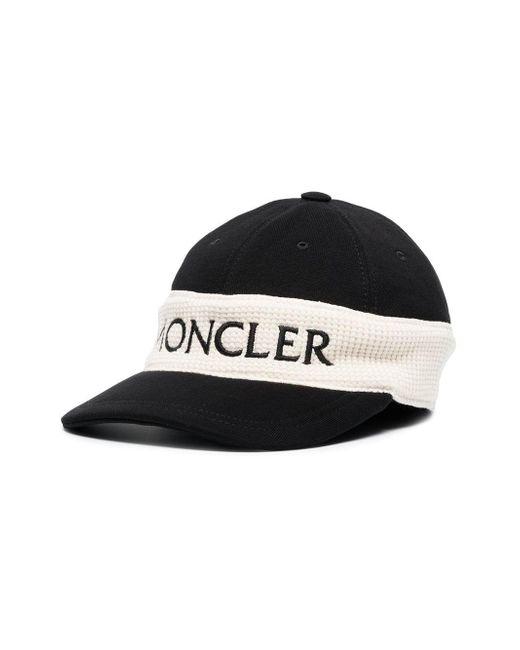 50d6abc7374 ... Moncler - Black And White Logo Cap for Men - Lyst ...