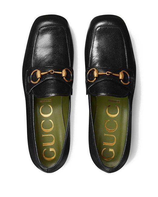 08cd0990b7cb ... Gucci - Black Leather Platform Loafer With Horsebit - Lyst