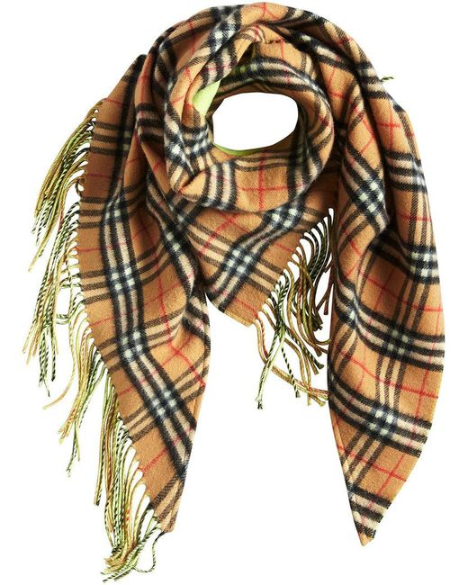Burberry - Green Brand Check Scarf - Lyst