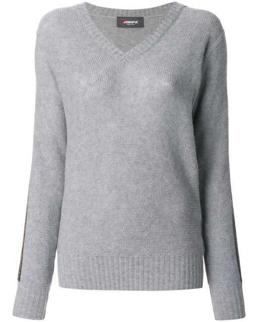 Jo No Fui - Gray V-neck Pullover - Lyst