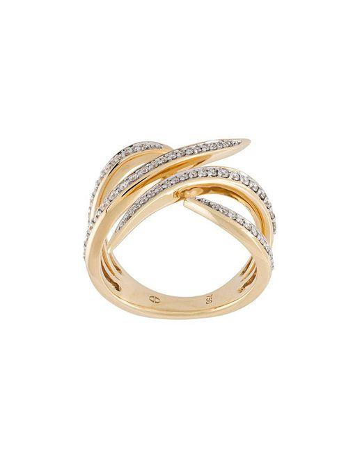Eshvi | Metallic Diamond Encrusted 18kt Gold Ring | Lyst