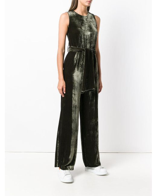 Clearance Good Selling belted velvet jumpsuit - Green P.A.R.O.S.H. Outlet Locations Sale Online Free Shipping Footlocker Pictures Visa Payment Under 50 Dollars KuztJFvFx