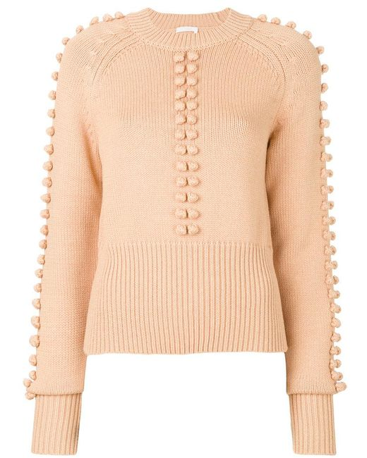 Chloé | Natural Knitted Bobble Sweater | Lyst
