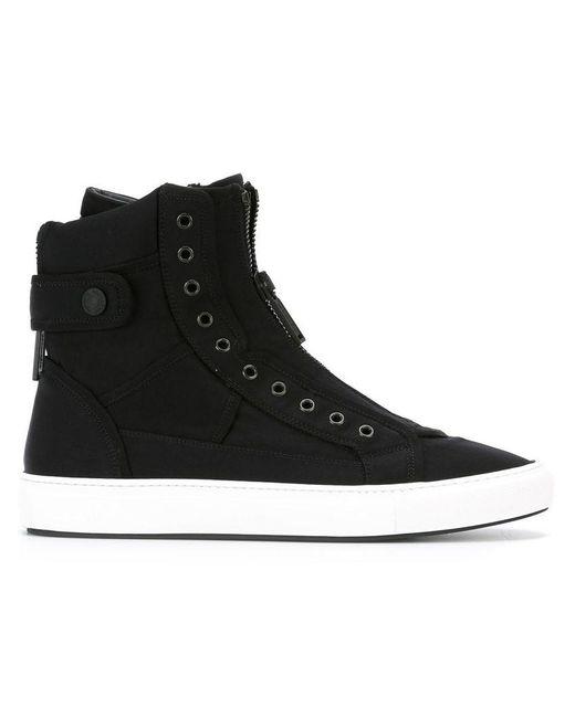 DSquared² - Black Front Zip Hi-top Sneakers for Men - Lyst