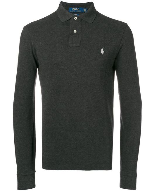 Polo Ralph Lauren - Gray Logo Embroidered Polo Shirt for Men - Lyst