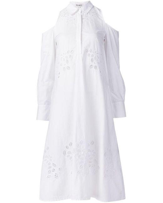 Suno - White Macrame Cut Out Shoulder Dress - Lyst