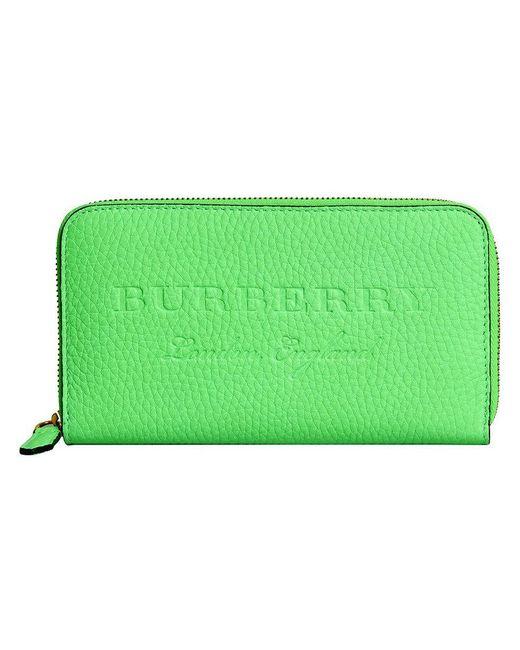 Burberry - Green Embossed Ziparound Wallet - Lyst