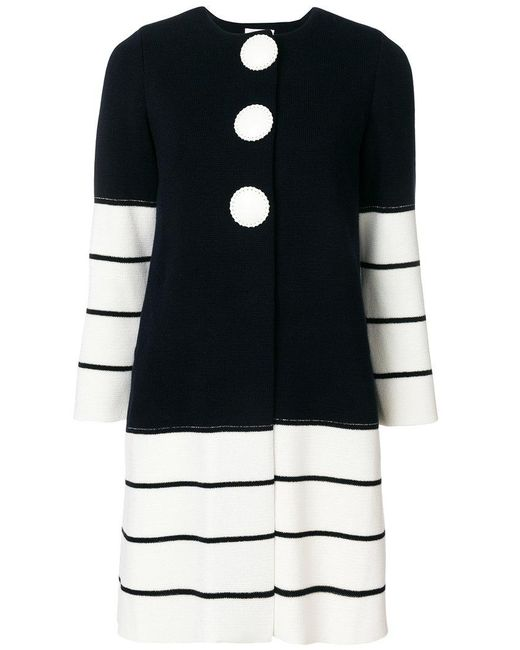 Charlott - Blue Striped Knit Coat - Lyst