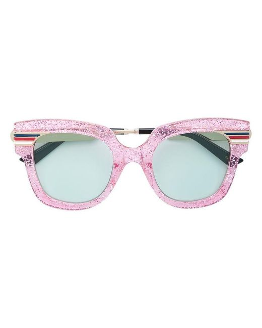 99dbbd615a Lyst - Gucci Oversized Glitter Sunglasses in Pink - Save 3%