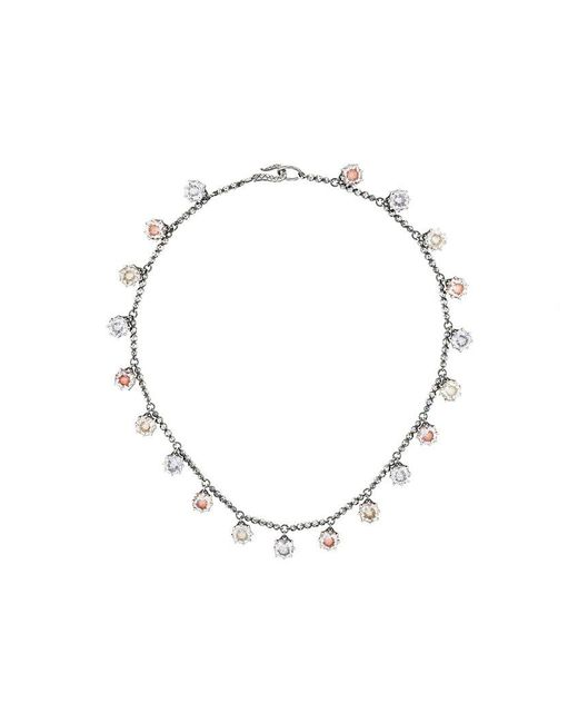 Bottega Veneta - Metallic Multicolour Cubic Zirconia Oxidized Silver Necklace - Lyst